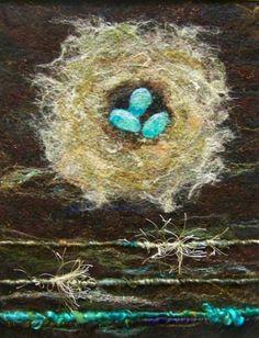 No.552 Nest Too  Needlefelt Art XLarge by Deebs on Etsy, $135.00