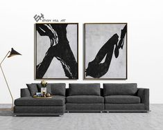 Large Set of 2 Painting, Set of 2 Wall Art Set, Canvas Painting, Hand painted Abstract Painting, Black white brown - Ethan Hill Art Black And White Painting, White Art, Black White, Wall Art Sets, Large Wall Art, Frame Store, Mid Century Modern Art, Office Art, Living Room Art