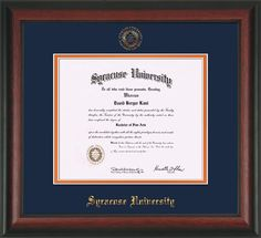 Syracuse University Diploma frame with premium hardwood moulding and official Syracuse seal and name embossing - blue on orange mat. All archival materials, including UV glass. A great graduation gift!