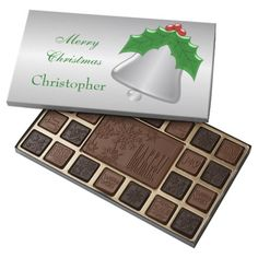 #Christmas #Bell #Holly Just Add Name 45 Piece Box Of #Chocolates