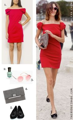 Dress by Number: Alexa Chung's Red Dress and Cat Flats - The Budget Babe