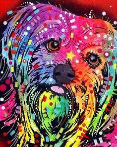 dean Russo Painting Dog Dogs Portrait pop Art Pet Yorkie Yorkshire Terrier yorkshire Terrier Painting - Yorkie by Dean Russo