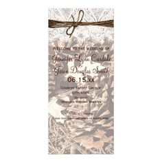 """Camo Hunting Theme Country Wedding Programs.  Vertical 4"""" x 9"""" Glossy, two sided wedding programs."""