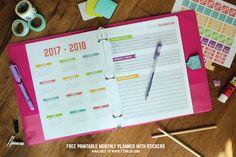 Imprimir gratis planificador mensual del planificador y pegatinas