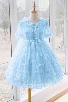 Yolanda -Crescent Moon of the Sea- Lolita OP Dress #Leftovers Beautiful Outfits, Cool Outfits, Fashion Outfits, Fashion Clothes, Petticoated Boys, Japanese Costume, Cute Asian Fashion, Kawaii Clothes, Lolita Dress