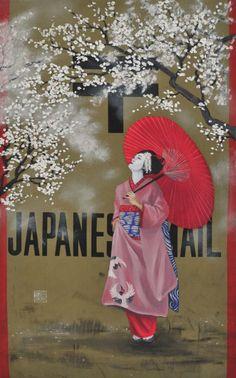 Sakura- Letter, Oil on an original Japanese mail bag
