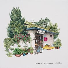 (Korea) A small store, good harvest super market, 2016 by Lee Me Kyeoung ). with a pen use the acrylic ink on paper. Urban Drawings, Art Drawings, Pencil Drawings, Watercolor Illustration, Watercolor Art, Lee And Me, House Drawing, Korean Art, Urban Sketching