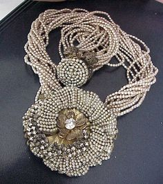 Miriam Haskell Costume Jewelry Pearl Rhinestone Floral Necklace