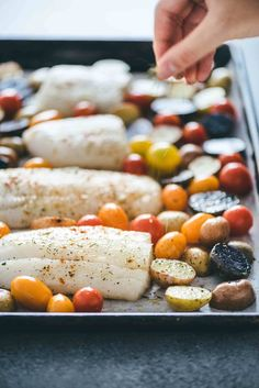This One-Pan Baked Cod & Veggies recipe comes together in less than 30 minutes. It works well for a quick weeknight dinner or an easy Sunday meal prep. Veggie Meal Prep, Easy Meal Prep, Easy Meals, Veggie Recipes, Fish Recipes, Healthy Recipes, Healthy Lunches, Dinner Recipes, Dinner Ideas
