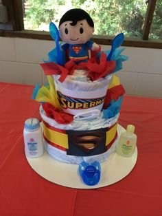 Superman Diaper Cake