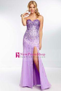 2014 hot Sweetheart Prom Dress Chiffon Full Beaded Bodice With Slit