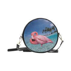 Flamingo and Palms Round Messenger Bag. FREE Shipping. #artsadd #bags #flamingos