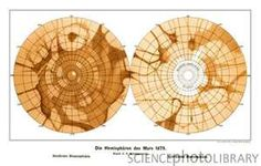 Schiaparelli's theoretical map of mars, charted in the 1880s.