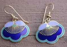 "Vintage Laurel Burch ""Plum Blossom"" Enamel Dangle Earrings by Calessabay on Etsy"