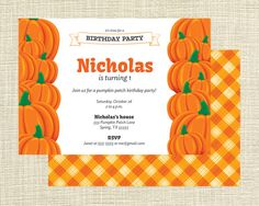 Items similar to Fall Pumpkin Birthday Party Printable Invitation on Etsy Pumpkin Patch Birthday, Pumpkin Patch Party, Pumpkin Birthday Parties, Birthday Ideas, Free Printable Invitations, Party Printables, Free Printables, A Pumpkin, Fall Pumpkins