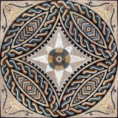 Invite color and pattern into your favorite space with the Remus geometric Roman mosaic panel. Use this Roman motif mosaic to brighten your homes walls or flooring. It comes in 4 stock sizes or have it commissioned to your specifications. Marble Mosaic, Stone Mosaic, Mosaic Tiles, Mosaic Floors, Mosaic Designs, Mosaic Patterns, Pattern Art, Mosaic Art Projects, Mosaic Artwork