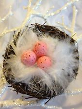 shabby chic bird ornaments | French Chic~ Marabou Feather Pink Egg Bird Nest Ornament ~Xmas Tree ...