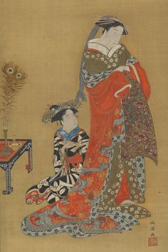 Japan, hanging scroll by Kitao Masanobu, A Courtesan and attendant, late 18th or early 19th century