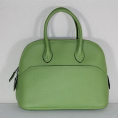 Hermes Bolide Togo Leather Tote Bags Green. Color~