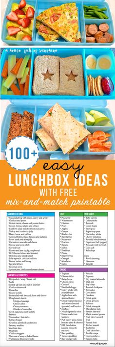 These lunchbox ideas are amazing! 100  easy lunchbox ideas with a FREE printable mix-and-match chart. My kids will love these!