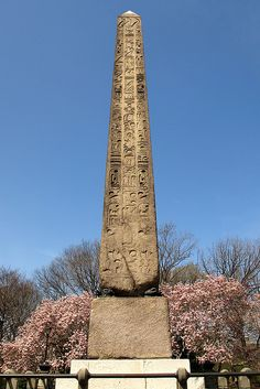 Cleopatra's Needle Obelisk, Central Park, New York City is an Egyptian obelisk dated 15 BC and originally from Heliopolis.  It was a gift from Egypt in 1877.  There is concern that NYC should remove the obelisk from the park and place it away from the elements.  Apparently it has deteriorated quite a bit.  To check out what the hieroglyphs say, go to wikipedia.  by jag9889