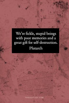 We are stupid fickle beings with a gift for self-destruction.  — Plutarch    #hungergames #books #lit #fiction #fantasy #quotes