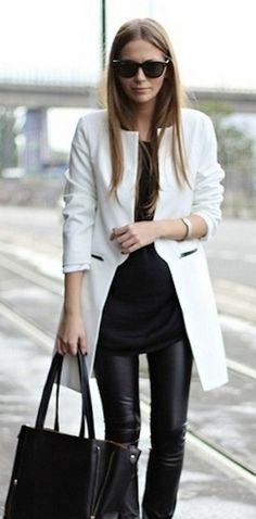 Woman. Fashion. Black & White. Leather. Street. Style. Chic. Details. Dressed. Proper. Beautiful. Sunglasses. Handbag. Slim. Simple. Minimal. True.
