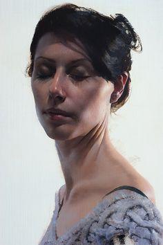 """Vanessa"" - Daniel Sprick, realist, oil on board; Glenwood Springs, Colorado {contemporary figurative realism female head pretty woman face portrait artwork painting #loveart} Style !! <3 danielsprick.com"