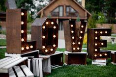 """Wooden letters """"LOVE"""" with lights. Boxes/ Деревянные буквы """"LOVE"""" с лампочками. Ящики коричневые с ванильными вставками."""