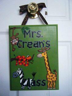 Jungle Teacher Door or Classroom Sign  cute by LimaGreenDesigns, $25.00