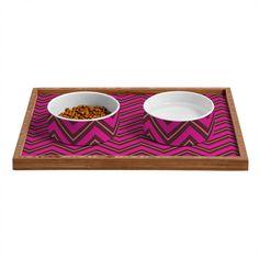 Caroline Okun Chocolate Chevron Pet Bowl and Tray – DENY Designs