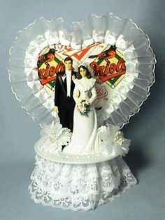 Baltimore Orioles BASEBALL Wedding Cake Topper Groom By Finsnhorns