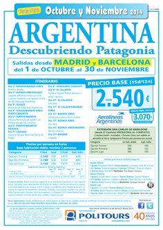 ARGENTINA - Descubriendo Patagonia - sal. del 1/10 al 30/11 dsd Mad y Bcn(11d/8n)p. final dsd 3.070€ ultimo minuto - http://zocotours.com/argentina-descubriendo-patagonia-sal-del-110-al-3011-dsd-mad-y-bcn11d8np-final-dsd-3-070e-ultimo-minuto/