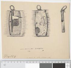 Oseberg 178 chest lock - museum spec drawing Osebergfunn fra mappe 'Oseberg, diverse gjenstander'. Lås fra kiste. Akvarell og tusjtegning av Sofie Krafft. (S.K.) Mål B: 21,5 cm, H: 18,3 cm.