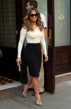 Blue Pencil Skirt White Satin Blouse and Black High Heels http ...