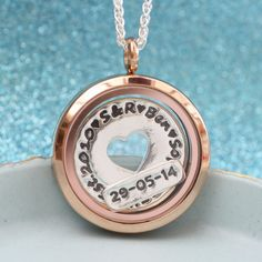 Family Floating Charm Locket Rose Gold family by greenriverstudio