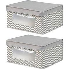 InterDesign Chevron Fabric Closet/Dresser Drawer Storage Organizer, Box for Clothing, Shoes, Handbags, Jeans - Set of 2, Medium, Taupe/Natural