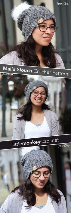 Malia Slouch   Winter Hat Crochet Pattern by Little Monkeys Crochet   Malia CAL 2017