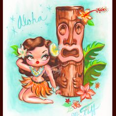 Hula Babydoll with a Tiki- watercolor on board by artost Claudette Barjoud (Miss…