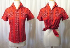 Killer 1950's Red and Metallic Silver Cowgirl Shirt by wearitagain, $125.00
