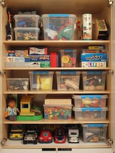 Toy closet organization. Putting smaller toys in labeled bins help keep your kids' space in order. #toys #organization #shelving #playroom