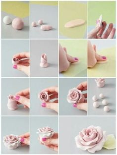 56 super ideas for cupcakes fondant flores gum paste - fondant rose Rose En Fondant, Fondant Rose Tutorial, Cake Tutorial, Polymer Clay Flowers, Polymer Clay Crafts, Diy Clay, Chocolate Toppers, Chocolate Fondant, Chocolate Cupcakes