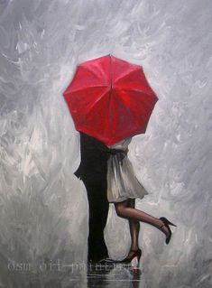 Image result for pictures with red umbrellas #OilPaintingRed