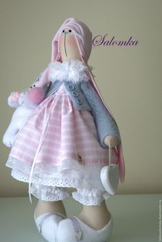 Купить Зайка Саломка ( Salomeja ) - текстильная игрушка, 38 см - розовый