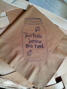 Rustic Burlap Brown Mason Jar Two Paths Become by CharlestonCharms, $15.00