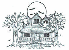 Haunted House Rubber Stamp O19502