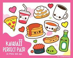 Kawaii clip arts and digital papers от CockatooDesign на Etsy Food Kawaii, Kawaii Cooking, Valentines Day Drawing, Valentines Day Clipart, Kawaii Dragon, Food Clipart, Vector Clipart, Cooking Clipart, Art Clipart