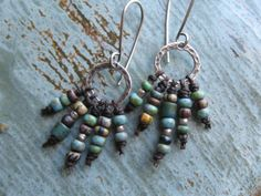 Rustic Beaded Fringe Earrings by valleybeadglassart on Etsy, $35.00