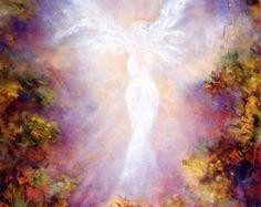Angel Blessing Angel Art Print Spiritual by MarinaPetroFineArt