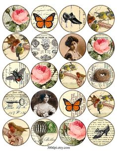 2 inch circles vintage digital images tag ephemera scan rose butterfly bird 2 inch round images Printable Download Digital Collage Sheet